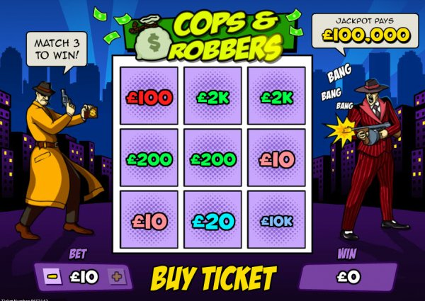 cops and robbers scratchcard